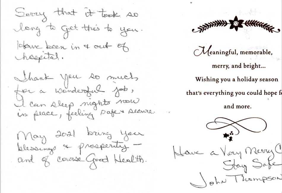 Thank you letter from Client
