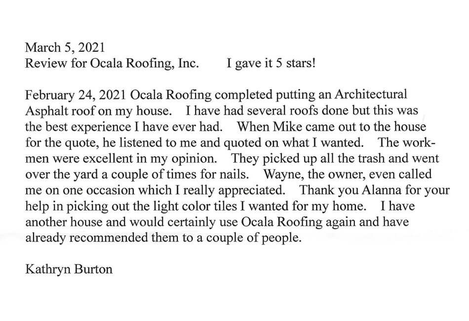 Review for Ocala Roofing Inc.